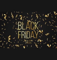 black friday sale banner background with gold vector image