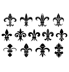 Black royal fleur de lis flowers set vector image