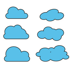 blue cloud on white background vector image