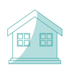 Blue silhouette shading house one floor vector