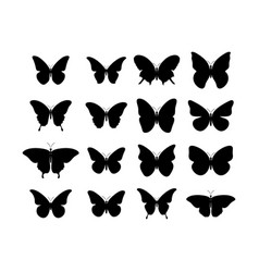 butterfly black icons collection black vector image