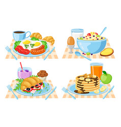cartoon breakfast healthy delish breakfast menu vector image