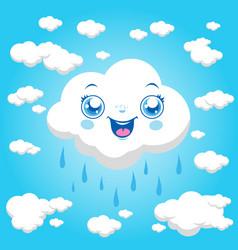 cartoon clouds raining vector image