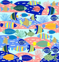 Cartoon wallpaper with fish and marine life vector image