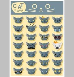 Cat emoji icons 5 vector
