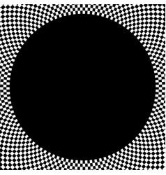 Checkered circular element abstract monochrome vector