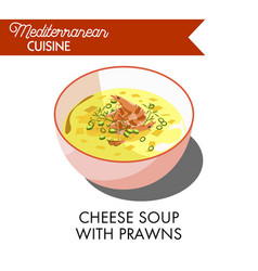 Cheese soup with prawns and fresh greenery in bowl vector