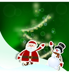 Christmas card with Santa Claus tree and snowman vector