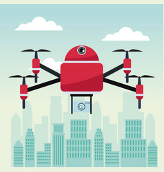 City landscape scene with drone with four airscrew vector