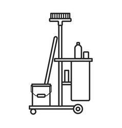 Cleaning trolley iconoutline vector