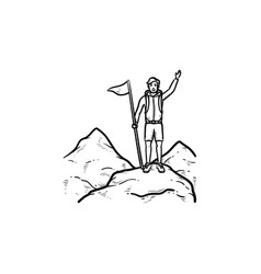 Climber with flag standing on mountain top hand vector