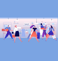 clothing store shopping people with boxes and vector image