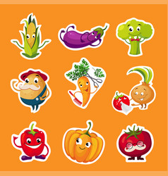 collection fruits and vegetables stickers vector image