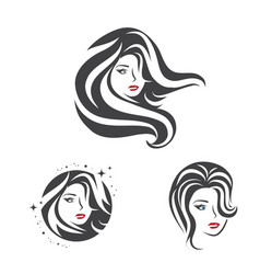 Collection of beauty woman face and hair vector