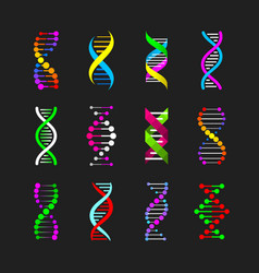 color dna genetic signs set vector image