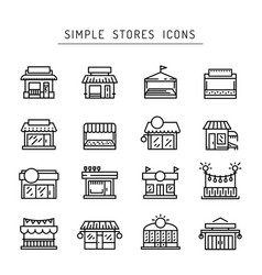 commerce store front outline icon flat vector image