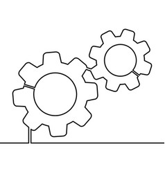 continuous line gears vector image