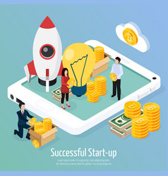 cryptocurrency successful startup isometric vector image