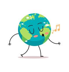 cute earth character singing songs cartoon mascot vector image
