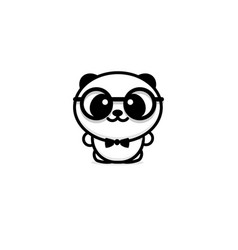 cute panda with glasses and butterfly vector image vector image