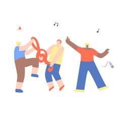 dancing musical band happy man friends having fun vector image