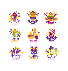 diwali logo design set hindu festival of lights vector image