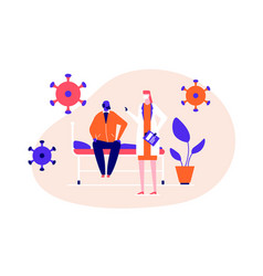 Doctor visiting a patient - flat design style vector