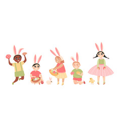 easter images children with painted eggs vector image
