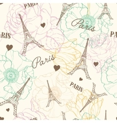 Eifel Tower Paris Seamless Pattern In vector image