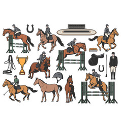 equestrian sport icons horse riding set vector image