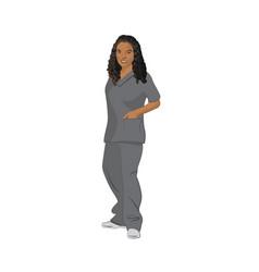 Female black medical technician wearing gray vector