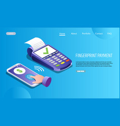 fingerprint payment website landing page vector image
