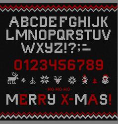 Folk christmas font scandinavian knitted vector
