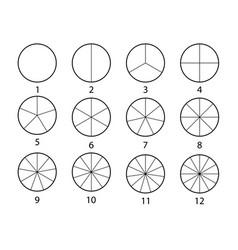 fraction mathematics circle segments set black vector image