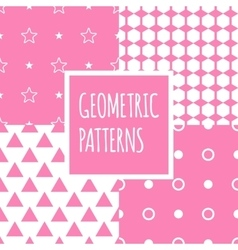 Geometric pink seamless patterns set Baby vector