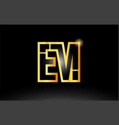Gold black alphabet letter em e m logo vector