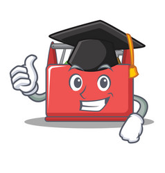 Graduation tool box character cartoon vector