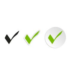Green check mark icon set vector