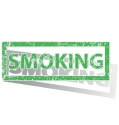 Green outlined SMOKING stamp vector