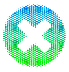 Halftone blue-green cancel icon vector
