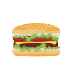 hamburger design with cheese meat and tomatoes vector image