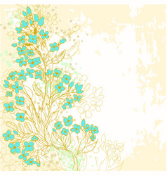 Hand drawn background with forget-me-not flowers vector