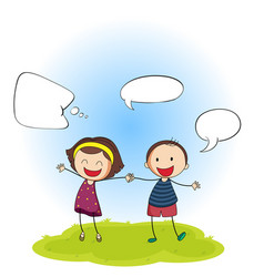 happy boy and girl with speech balloon vector image
