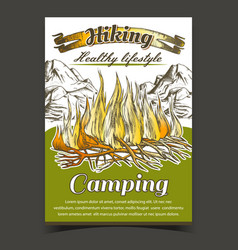 Hiking camping adventure advertise banner vector