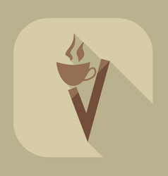 Icons in flat-style coffee vector