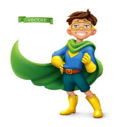 little boy in superhero costume with green coats vector image