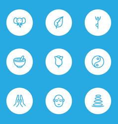 meditation icons line style set with elephant vector image