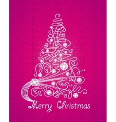 merry christmas purple card vector image