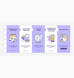 Microplastics sources onboarding template vector