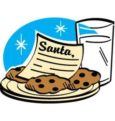 Milk and cookies for santa vector